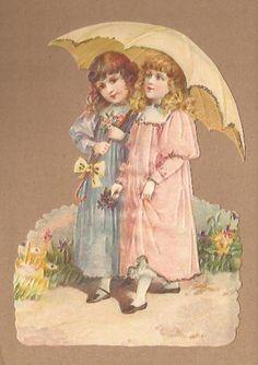 Nostalgische meisjes onder paraplu poezieplaatjes 5158