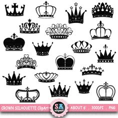 Crown Silhouette ClipArt CROWN SILHOUETTE clip art by SAClipArt