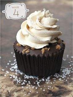 Salted Caramel Chocolate Cupcake from Buttercream Couture. Includes recipe for caramel sauce and salted caramel buttercream frosting. Yum...