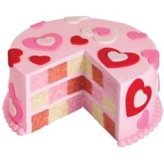 """Fabulous Valentine's Day dessert? Check! We love the look of this """"Hearts Abound"""" checkerboard cake (via Wilton.com)."""