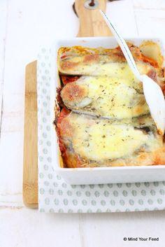 Zoete aardappel lasagne met aubergine - Mind Your Feed