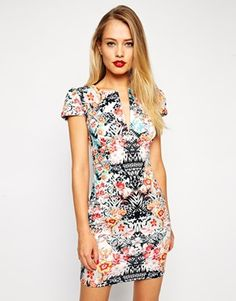 ASOS Mini Sexy Pencil Dress in Mirror Floral Print