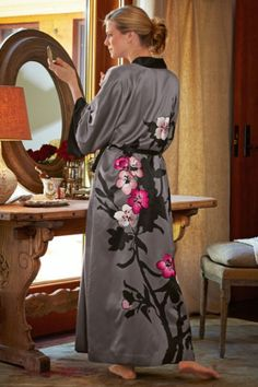 Midnight In Paris Robe - Embroidered Floral Robe, Ombre Bathrobe, Ladies Robe With Pockets | Soft Surroundings