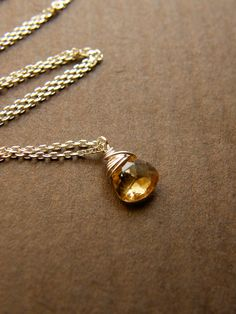 Dainty+Yellow+Citrine+and+Sterling+Silver+by+LaBodaCollection