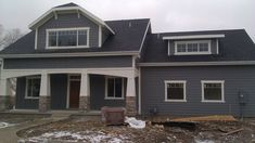 Exterior, : Agreeable Exterior Decoration With Black Roof Tile And Dark Grey Hardie Wood Siding