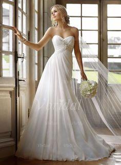 Robes de mariée - $172.02 - Forme Princesse Sans bretelles Bustier en coeur Traîne moyenne Mousseline de soie Robe de mariée avec Plissé Perles brodées (0025093149)