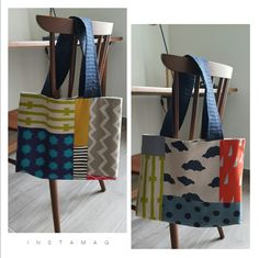 Different patchwork pattern on each side of tote bag. Sacs Tote Bags, Diy Tote Bag, Tote Bags For College, Patchwork Patterns, Couture Sewing, Tote Pattern, Fabric Bags, Big Bags, Handmade Bags