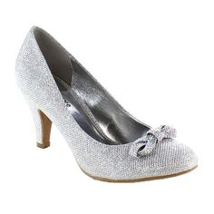 Whenever and wherever, be elegant and trendy with these sparkling pumps. They feature closed round toe front, glittering upper with bow accent, low stiletto heel, padded insole and easily slip on/off.