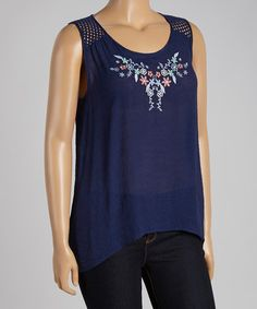 Loving this Navy Knit-Back Crisscross Cutout Tank - Plus on #zulily! #zulilyfinds