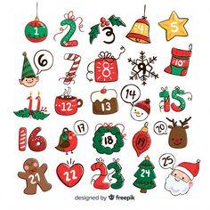 Advent Calenders, Diy Advent Calendar, Kids Calendar, Grinch Christmas Decorations, Christmas Mood, Christmas Crafts, Christmas Calendar, Christmas Stickers, Printable Calendar Template