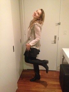 Fall outfit #vest #fashion romantic leather skirt #h&m #forever21