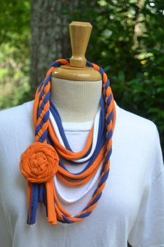 Upcycled TShirt Scarf  Auburn Colors by AcornHillHome on Etsy, $18.00