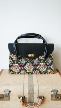 Tapestry Bag. 60s Needlepoint Purse. Large Vintage Carpet Bag. Black Floral Bag.