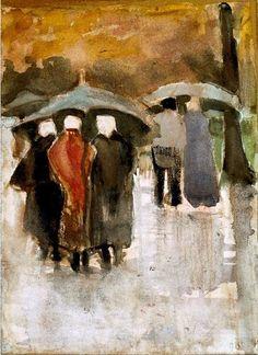 By Vincent van Gogh (1853-1890), Dans la pluie(In the rain).