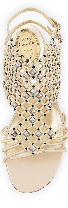 Rene Caovilla Crystal Caged Flat Sandal, Platinum/Black
