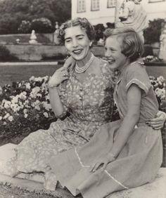 Queen Ingrid of Denmark with her oldest daughter Princess Margrethe (Queen Margrethe II) at Fredensborg Castle.