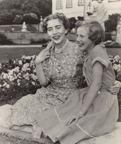 Queen Ingrid of Denmark with her oldest daughter Princess Margrethe (Queen Margrethe II) at Fredensborg Castle.