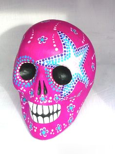 Day of the Dead sugar skull. Handpainted by Mexican artists. #day_of_the_dead