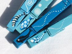 BLUE FISH CLOTHESPIN hand painted magnetic clothespin set