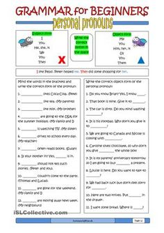 Here is the 12th ws in the series of grammar worksheet for beginners. This one is about personal pronouns (subject form and object form). - ESL worksheets More