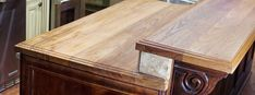 DIY butcher block - they edge and cut you stain and seal. Teak kitchen island top with raised bar top Wood Bar Top, Wood Bar Table, Wood Bar Stools, Diy Wood Countertops, Outdoor Kitchen Countertops, Country Kitchen, New Kitchen, Kitchen Bars, Kitchen Sink
