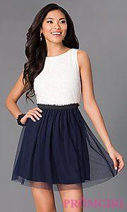 Buy Short Sleeveless Dress JA16453HBK with Lace Bodice at PromGirl