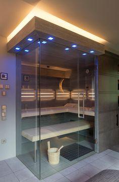 Design sauna made to measure by the corso sauna manufactory with color-changing LED light .: spa by corso sauna manufaktur gmbh - Sauna - Bathroom Decor Home Steam Room, Sauna Steam Room, Sauna Room, Spa Design, Design Ideas, Massage Room Colors, Mini Sauna, Modern Saunas, Arquitetura