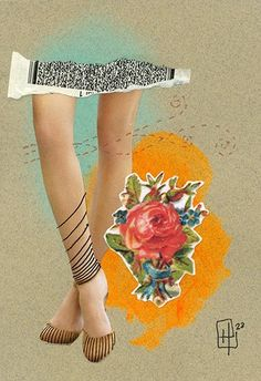 Passeio dela, 2015 by Hannah23 [ handmade collage + pen copper color + fluorescent acrilic  + hidrocor + rocking, her ] #hannah23 #collage #h23collagem