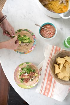 making my fresh salsa recipe and carnitas tacos over on designlovefest today!