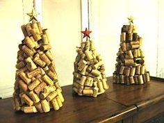 How to Make Wine Cork Christmas Trees - cool project with lights too!
