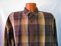 Tommy Bahama Mens Brown / Tan Plaid Long Sleeve Shirt Tencel Lyocell Size XL