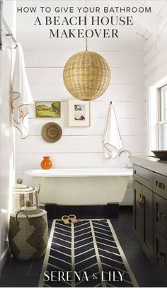1) Start with natural fibers. Our beach house bathroom staples are our La Jolla storage baskets made with hand-wrapped seagrass or rattan pendants. 2) Keep it light. Bright towels like our banded border collection will fit in perfectly with a beach house look. 3) Don't forget your walls by adding local art you love! Bright coastal landscapes can make any bathroom feel like it is right on the beach.