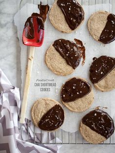 Chai Shortbread Cookies are dipped in chocolate and sprinkled with sea salt for even more flavor | foodiecrush.com