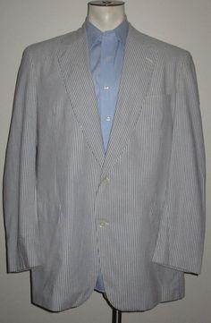 Men's Seersucker Sport Coat - 46 X-Long - 2 Button - 100% Cotton #Unbranded #TwoButton