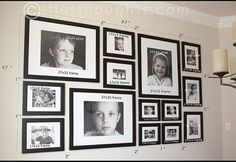 to make a gallery wall just like mine — Stie's Thoughts Christie's photo gallery wall, with dimensions. Because she is that awesome, AND she loves cookies.Christie's photo gallery wall, with dimensions. Because she is that awesome, AND she loves cookies. Family Pictures On Wall, Photos On Wall, Display Family Photos, Room Pictures, Photowall Ideas, Gallery Wall Layout, Gallery Walls, Ikea Gallery Wall, Travel Gallery Wall