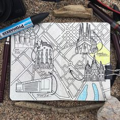 Moleskine map drawing inspired by my Spain trip heading to Barcelona for a few…