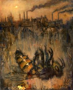 "Saatchi Art Artist Jeff Faerber; Painting, ""Man Vs. Bees: or Bees as the Canary in the Coal Mine"" #art"