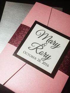 Pink and Silver Glitter Wedding Invitation, Pocketfold Wedding Invitation, Elegant Wedding Invitation, MARY VERSION
