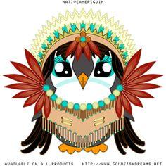 Nativeameriguin   The beautiful daughter of the Navaguin chief  #Thanksgiving #Fall #Autumn #Penguin #MrPenguin #Kawaii #Cute #Adorable #Goldfishdreams #CafePress #RedBubble