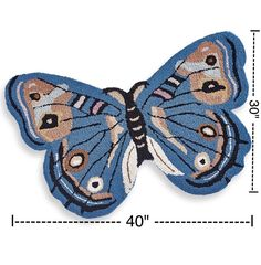 Butterfly Shaped Hand Hooked Rug - HAND-HOOKED BUTTERFLY RUG - Blue Butterfly #BlueButterfly  #ButterflyShapedRug #HandHookedRug #HANDHOOKEDBUTTERFLYRUG #BlueButterfly #ButterflyRug #josam1129
