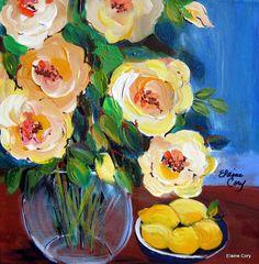 Lemons Still Life Original Painting Mini 12 x by ElainesHeartsong