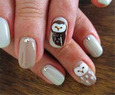 I am unfolding before you 15 cute & simple owl nail art designs, ideas, trends & stickers of I am sure you will love the collection, these nails art patterns look funny and sweet all at the same time. Owl Nail Art, Owl Nails, Animal Nail Art, Minion Nails, Fancy Nails, Cute Nails, Pretty Nails, Nail Art Designs 2016, Cute Nail Designs
