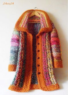 Crochet coat See other ideas and pictures from the category menu…. Faneks healthy and active life ideas Crochet Bolero, Crochet Diy, Crochet Coat, Crochet Jacket, Crochet Cardigan, Crochet Clothes, Coat Patterns, Clothing Patterns, Cardigan Pattern
