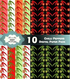 Chili Peppers digital paper pack, really great for hobbies and crafts, especially scrap book keepers and creators, can print beautifully as wrapping paper scrapbook scrapbooking Image Paper, Shop Logo, Scrapbook Paper, Scrapbooking, Hobbies And Crafts, Pattern Paper, Wraps, Packing, Stuffed Peppers
