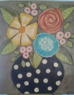 Acrylic painting on wood Folk Art Flowers, Flower Art, Watercolor On Wood, Painting On Wood, Art Floral, Canvas Crafts, Canvas Art, Flower Canvas, Art Plastique