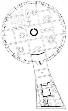 Kenzo Tange, Children's Library, Floor Plan, Hiroshima, Japan, 1951-1953