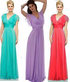 flutter sleeve Long Evening formal cocktail prom gown dress dresses