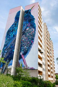 Building in Berlin Gets Transformed by Amazing 137-Foot Tall Starling Mural