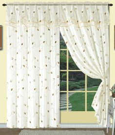 Dorothy is a uniquely layered curtain panel with an attached valance. The top layer is a solid organza sheer enhanced with a color coordinating medium scale embroidered leaf and stem pattern.   #Rod #Pocket #Curtains