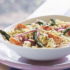 Salmon, Asparagus, and Orzo Salad with Lemon-Dill Vinaigrette | MyRecipes.com